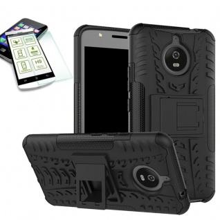Hybrid Case Tasche 2teilig Schwarz für Motorola Moto E4 Plus + H9 Hartglas Neu