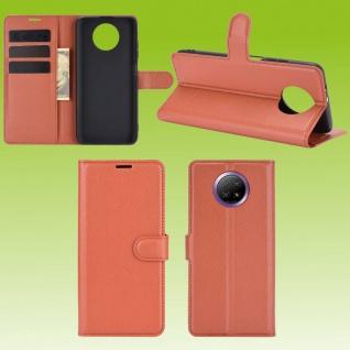 Für Xiaomi Redmi Note 9T 5G Handy Tasche Braun Etuis Kunst-Leder Cover Hülle Neu