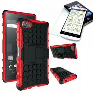 Hybrid Case Rot für Sony Xperia Z5 Compact Mini 4.6 Zoll + H9 Panzerglas Tasche
