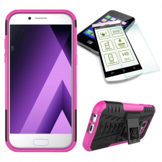 Hybrid Case Tasche 2teilig Pink für Samsung Galaxy A3 2017 A320F + H9 Hartglas