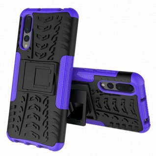 Für Huawei P Smart Plus Hybrid Case 2teilig Outdoor Lila Tasche Hülle Cover Neu