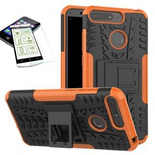Für Huawei Y6 2018 Hybrid Case Tasche Outdoor 2teilig Orange + H9 Glas Hülle Neu