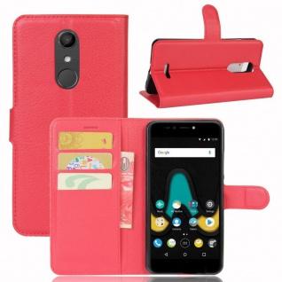 Tasche Wallet Premium Rot für Wiko Upulse Hülle Case Cover Etui Schutz Zubehör