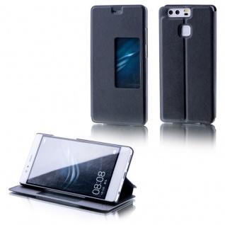 Booktasche Window Schwarz für Huawei P9 Plus Tasche Smart Cover Hülle Wake UP