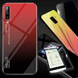 Für Samsung Galaxy A7 A750F 2018 Color Effekt Rot Tasche Hülle H9 Hart Glas Case