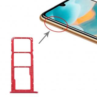 Für Huawei Y6 2019 SIM + SIM Card Tray Karten Halter + Micro SD Rot Ersatzteil