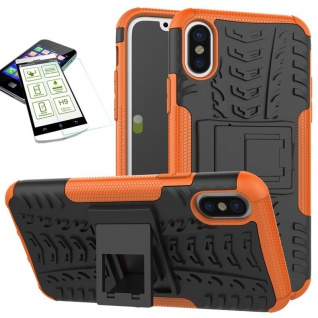 Hybrid Tasche Outdoor 2teilig Orange für Apple iPhone X / XS 5.8 + Hartglas