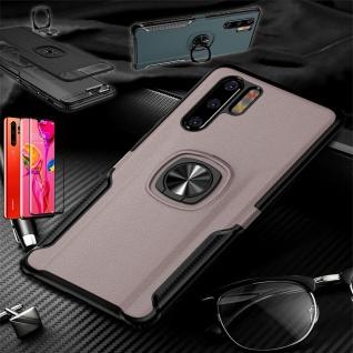 Für Huawei P30 Pro Magnet Metall Ring Hybrid Pink Tasche Etuis + 4D H9 Glas Case