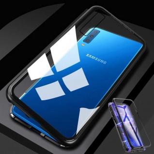 Für Samsung Galaxy A50 6.4 Magnet Metall Glas Transparent / Schwarz Tasche Hülle
