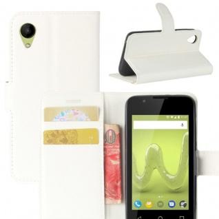 Tasche Wallet Premium Weiß für Wiko Sunny 2 Hülle Case Cover Etui Schutz Zubehör