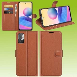 Für Xiaomi Redmi Note 10 5G Handy Tasche Braun Etui Kunst-Leder Cover Hülle Case