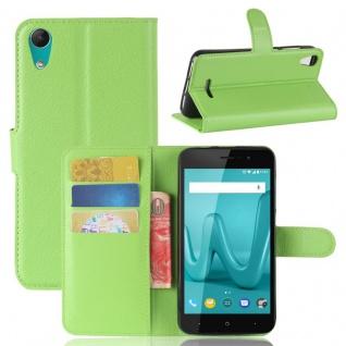 Tasche Wallet Premium Grün für Wiko Lenny 4 Hülle Case Cover Etui Schutz Neu Top
