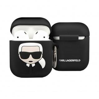 Karl Lagerfeld Silikon Cover für Apple AirPods Schwarz Schutzhülle Tasche Case