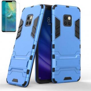 Für Huawei Mate 20 Pro Tasche Metal Style Hybrid Hülle Hellblau + 4D Curved Glas