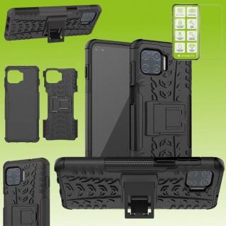Für Motorola Moto G 5G Plus Hybrid Handy Tasche Outdoor Schwarz + H9 Glas Hülle