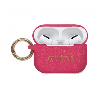 Guess Apple Airpods Silicon Cover Ring Pink Glitzer Schutzhülle Tasche Case Etui