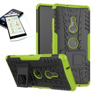 Für Sony Xperia XZ3 Hybrid Case 2 teilig Grün Hülle + 0, 3 mm H9 Glas Tasche Neu
