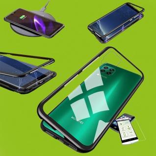 Für Huawei P40 Lite Magnet Handy Tasche Hülle Schwarz / Transparent + H9 Glas