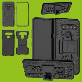 Für LG V40 ThinQ Hybrid 2teilig Outdoor Schwarz Tasche Etuis Hülle Cover Schutz