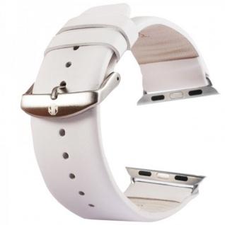 Echtleder Leder Armband Weis für Apple Watch Lederarmband 42mm iWatch Zubehör
