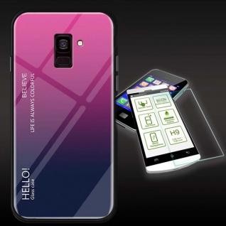 Für Samsung Galaxy J4 Plus J415F Color Effekt Pink Tasche Hülle H9 Hart Glas Neu