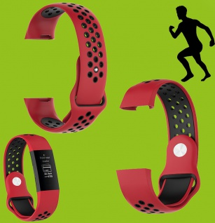 Für Fitbit Charge 3 Kunststoff Silikon Armband für Männer Größe L Rot-Schwarz