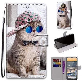 Für Nokia 5.3 Kunst-Leder Handy Tasche Motiv 3 Hülle Case Etuis Cover Schutz Neu