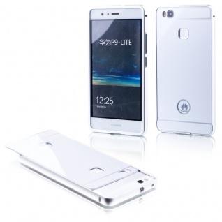 Alu Bumper 2 teilig mit Abdeckung Silber für Huawei P9 Lite Tasche Hülle Case