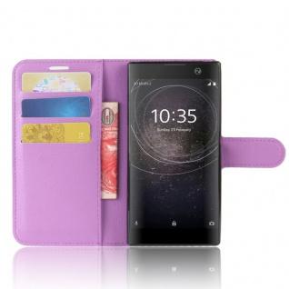 Tasche Wallet Premium Lila für Sony Xperia XA2 Hülle Case Cover Schutz Etui Neu - Vorschau 5