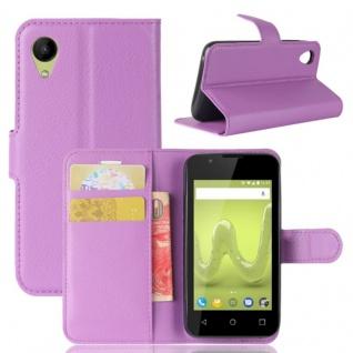 Tasche Wallet Premium Lila für Wiko Sunny 2 Hülle Case Cover Etui Schutz Zubehör