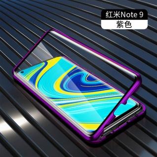 Beidseitige Magnet Glas Bumper Handy Tasche Lila für Xiaomi Redmi Note 9 Hülle