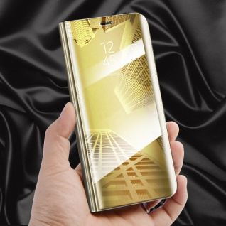 Clear View Spiegel Smart Cover Gold für Huawei P20 Tasche Wake UP Hülle Case Neu