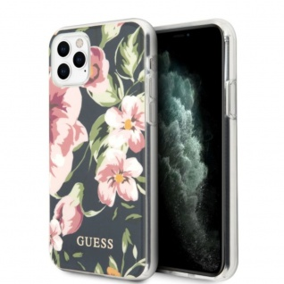 Guess Marble Collection Apple iPhone 11 Pro Flower 3 Marin Blau Case Cover Hülle