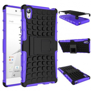 Hybrid Case 2 teilig Lila für Sony Xperia Z5 5.2 Zoll + 0, 3 H9 Hartglas Tasche - Vorschau 2