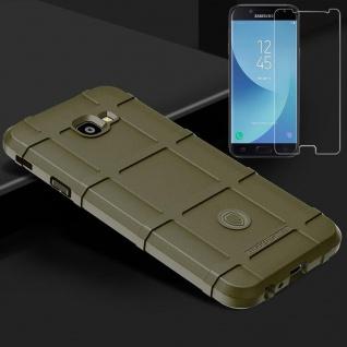 Für Samsung Galaxy J4 Plus J415F Tasche Shield Silikon Hülle Grün + H9 Glas