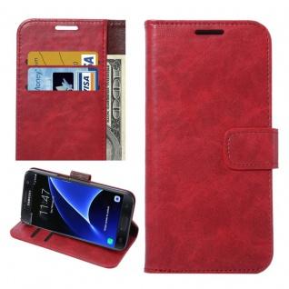 Schutzhülle Bookcover Rot Tasche Hülle Wallet Case für Galaxy S7 G930F Etui Neu