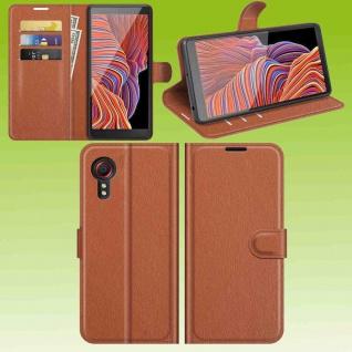 Für Samsung Galaxy Xcover 5 Smart Handy Tasche Braun Etuis Kunst-Leder Hülle Neu