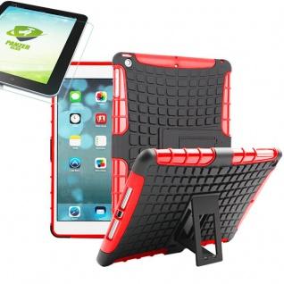 Für Apple iPad 9.7 2018 Hybrid Outdoor Schutzhülle Rot Tasche 0.4 H9 Hartglas