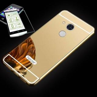 Alu Bumper 2 teilig Gold + 0, 3 H9 Glas für Huawei Honor 6A Tasche Hülle Case Neu