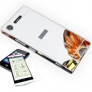 Alu Bumper 2 teilig Silber + 0, 3 H9 Hartglas für Sony Xperia XZ1 Compact Mini