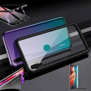 Für Huawei P30 Magnet Glas Tasche Schwarz / Transparent + 0, 3 4D H9 Glas Etuis