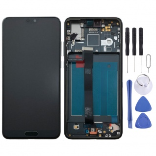 Für Huawei P20 Display Full LCD Touch mit Rahmen Reparatur Schwarz Ersatz Neu