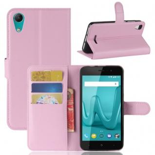Tasche Wallet Premium Rosa für Wiko Lenny 4 Hülle Case Cover Etui Schutz Neu Top