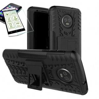 Für Motorola Moto G6 Plus Hybrid Tasche Outdoor 2teilig Schwarz Hülle + H9 Glas