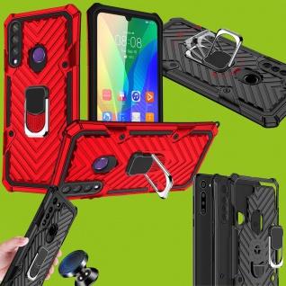 Für Huawei Y6P 2020 Hybrid Case Metall Armor Ring Rot Handy Tasche Hülle Schutz