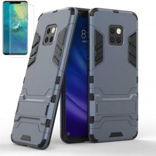 Für Huawei Mate 20 Pro Tasche Metal Style Hybrid Hülle Blau + 4D Curved Glas Neu
