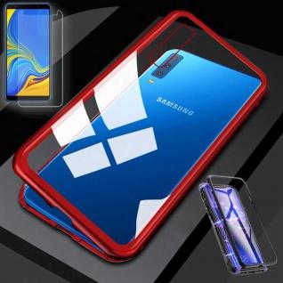 Für Samsung Galaxy A7 A750F Magnet Tasche Rot / Transparent + 0, 26 H9 Glas Hülle