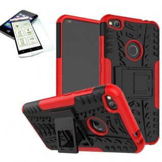 Hybrid Case Tasche Outdoor 2teilig Rot für Huawei P8 Lite 2017 + Hartglas Neu