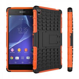 Hybrid Case 2teilig Robot Orange Cover Zubehör für Sony Xperia Z3 D6653 L55T Neu