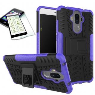Hybrid Case Tasche Outdoor 2teilig Lila für Huawei Mate 9 + Hartglas Cover Neu